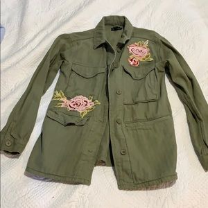 Green khaki cargo jacket with roses